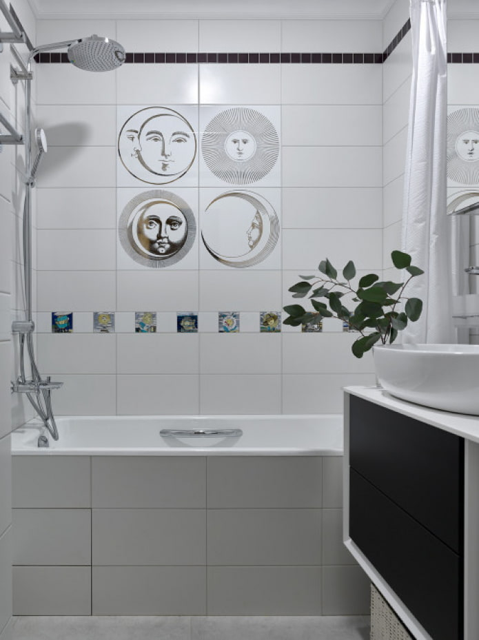 carreaux de décoration lumineuse dans la salle de bain