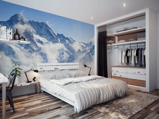 De luxueuses peintures murales de montagnes en tête de lit conviennent aux amoureux de la nature