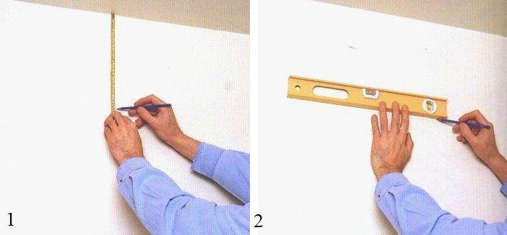 Vous aurez besoin d'un niveau horizontal, d'une règle ou d'une ficelle et d'un crayon