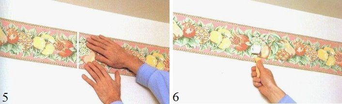 Tant que la colle n'est pas sèche, la position de la bordure peut être corrigée directement sur le mur
