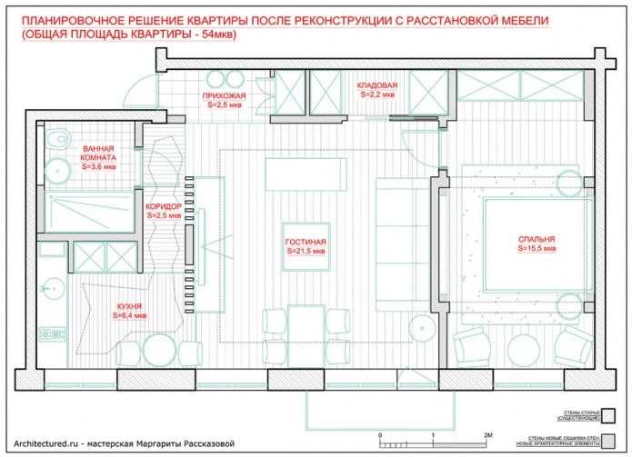 La disposition de l'appartement est de 54 m².  m.