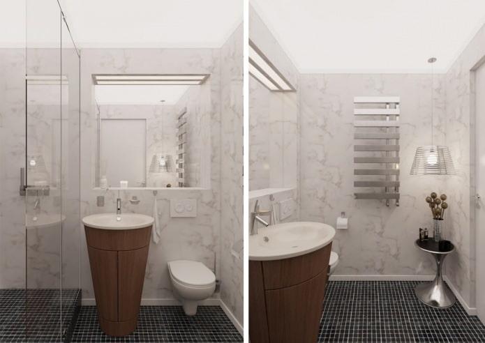 salle de bain à l'intérieur d'un appartement de 54 m².  m.