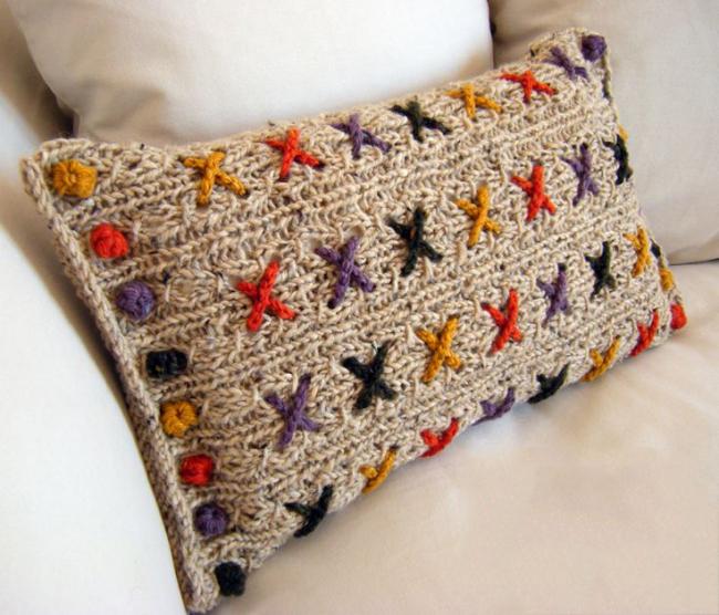 Taie d'oreiller en tricot imprimé multicolore