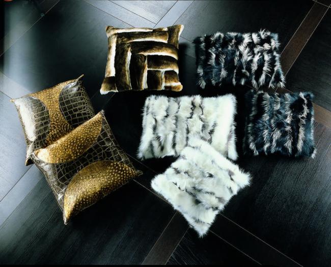 Coussinets luxueux en fourrure et cuir