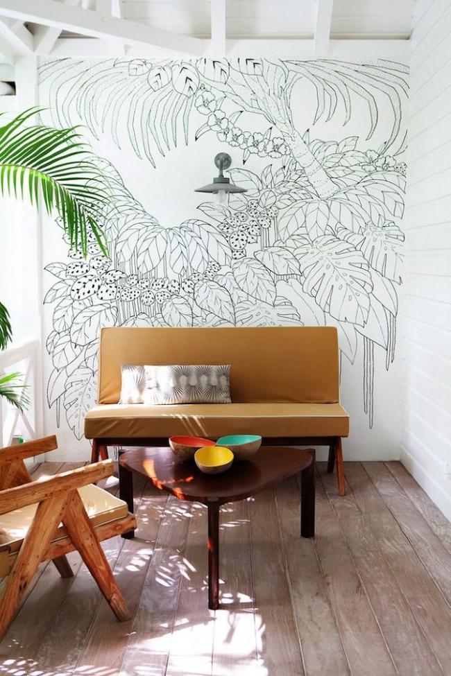 Espace détente avec décoration murale tropicale lumineuse