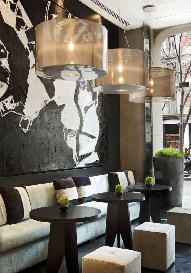 Le design original des murs du café
