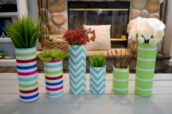 vases faits maison en papier peint