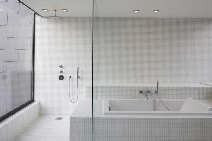 petits carreaux de couleur blanche à l'intérieur de la salle de bain