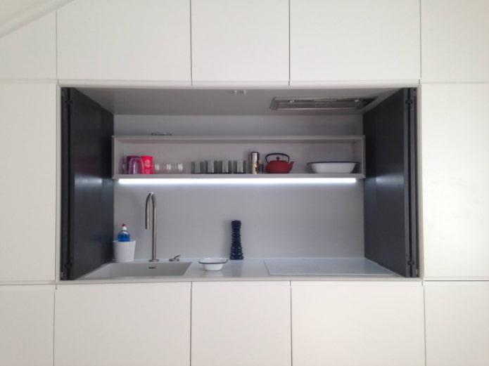 comptoir de cuisine caché