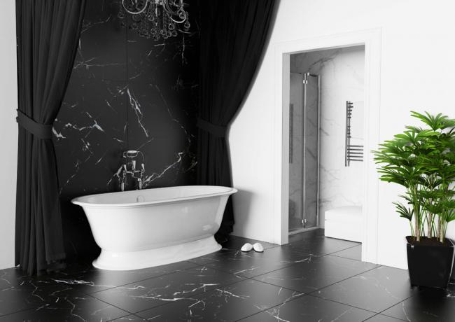Carreaux de marbre noir - exquis et de bon goût