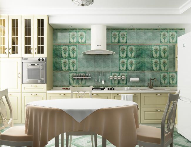 La combinaison de carreaux de malachite et de cuisines légères crée un effet saisissant