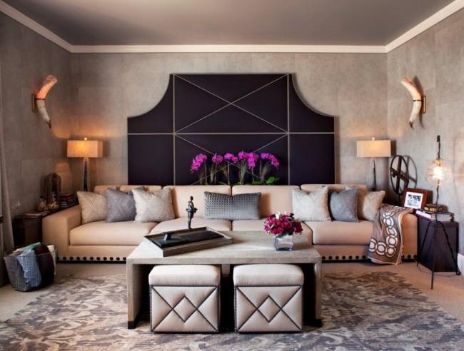 Les poufs ennoblissent l'intérieur, le diversifient et donnent à la pièce élégance et confort