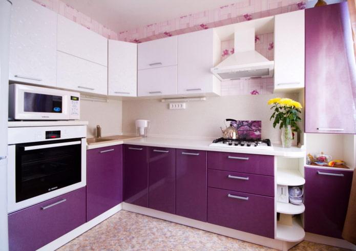 façades de cuisine violettes