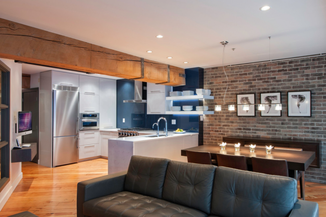 La maçonnerie aidera à souligner le style du loft