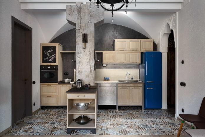 murs gris pour le plâtrage dans la cuisine