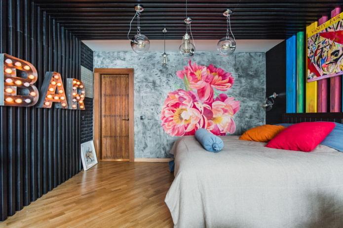 papier peint avec imitation plâtre dans la chambre
