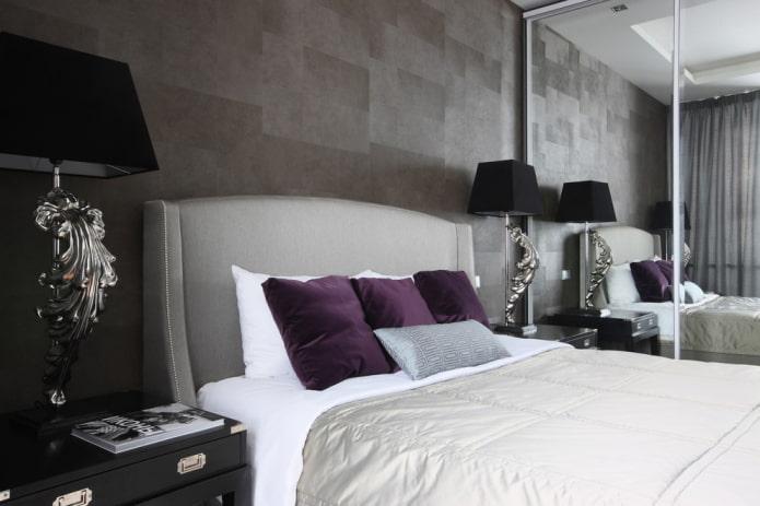 Conception de chambre à coucher en gris