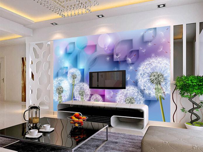 photos murales 3D volumétriques avec des pissenlits