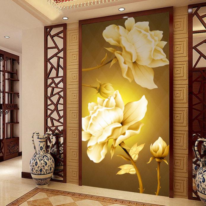 papier peint volumétrique dans le couloir