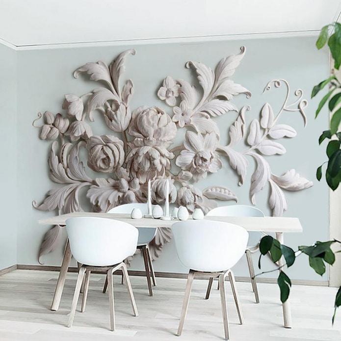 papier peint volumétrique sur le mur