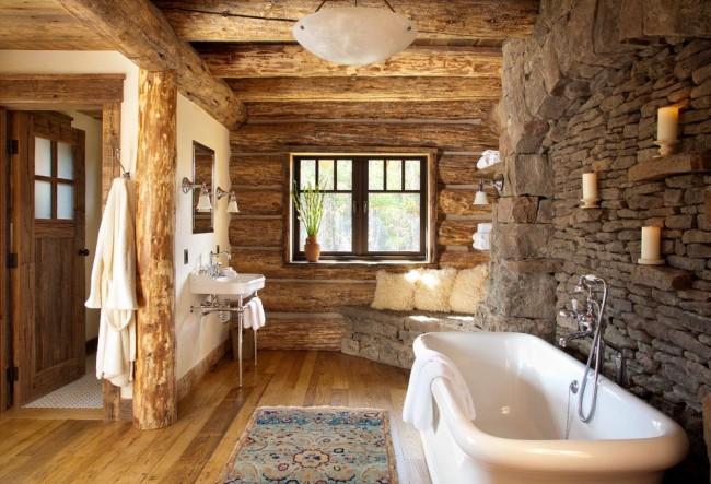 Baignoire rectangulaire dans un intérieur rustique
