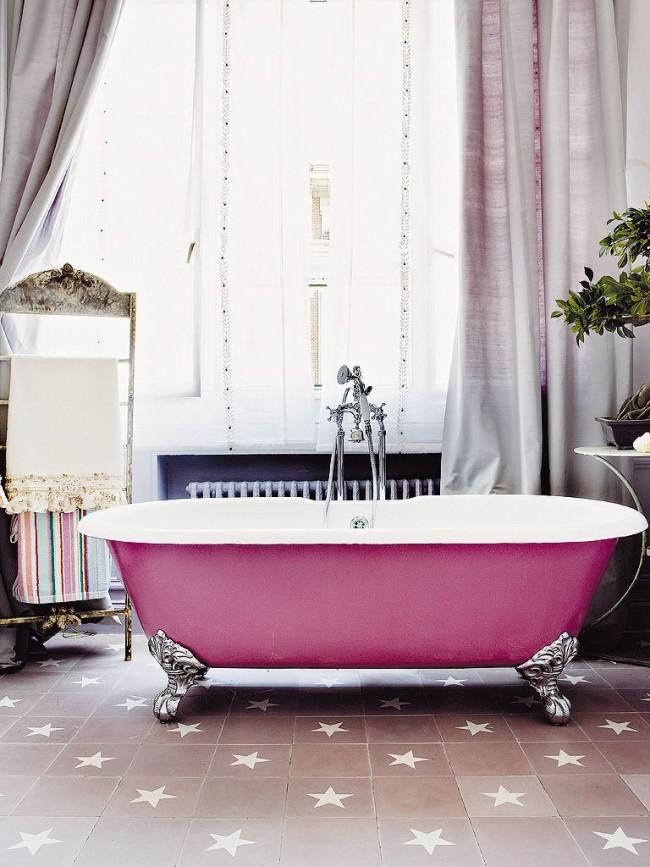 Baignoire en fonte rose