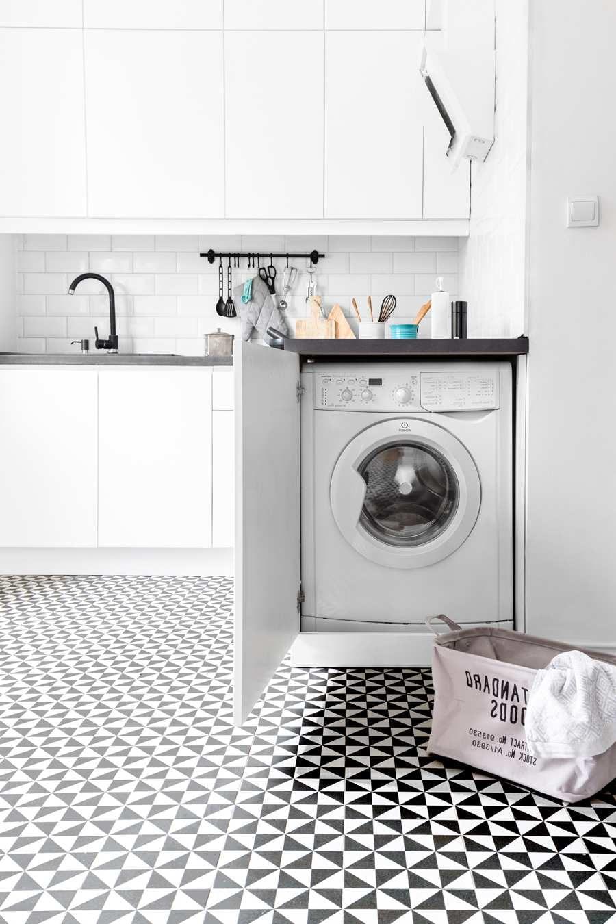 machine à laver en bout de façade