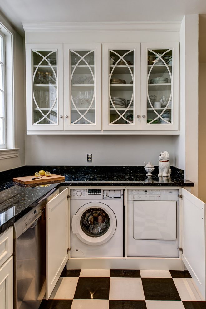 machine à laver dans le coin cuisine