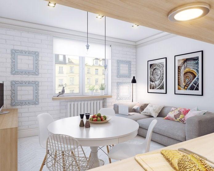 Intérieur scandinave d'un petit appartement