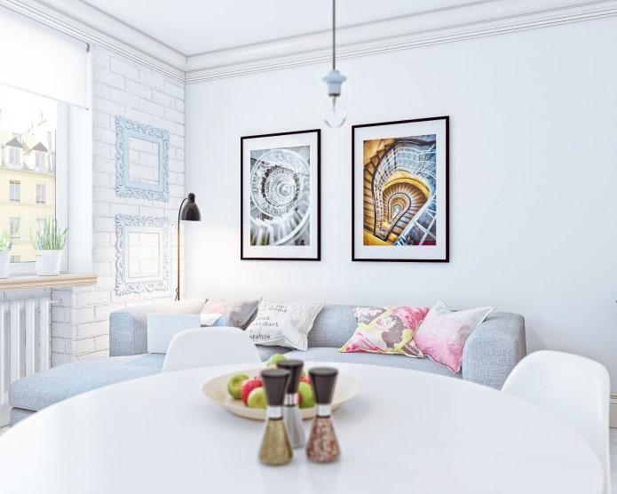 aménagement intérieur d'un petit studio de 24 m².  m.