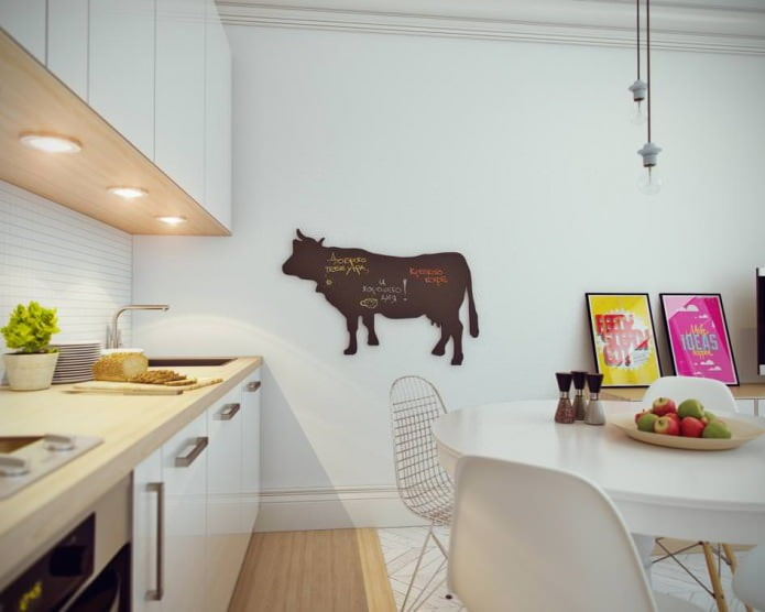 cuisine dans la décoration intérieure d'un petit studio de 24 m².  m.