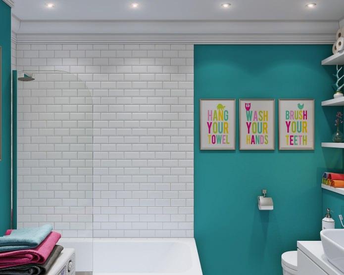 salle de bain dans la décoration intérieure d'un petit studio de 24 m².  m.