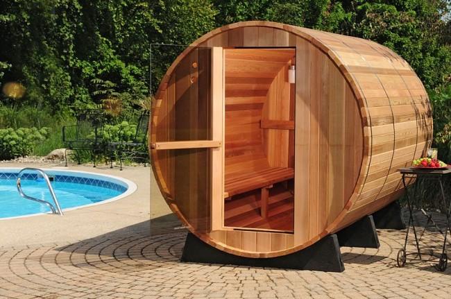 Le sauna tonneau est une invention originale des voisins finlandais.