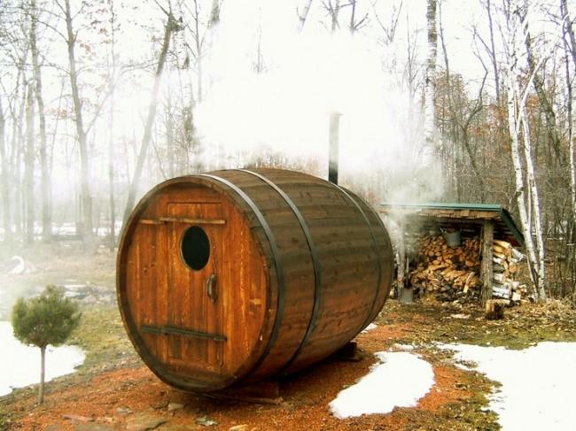 Pour un bain-tonneau, vous pouvez fabriquer vous-même un poêle