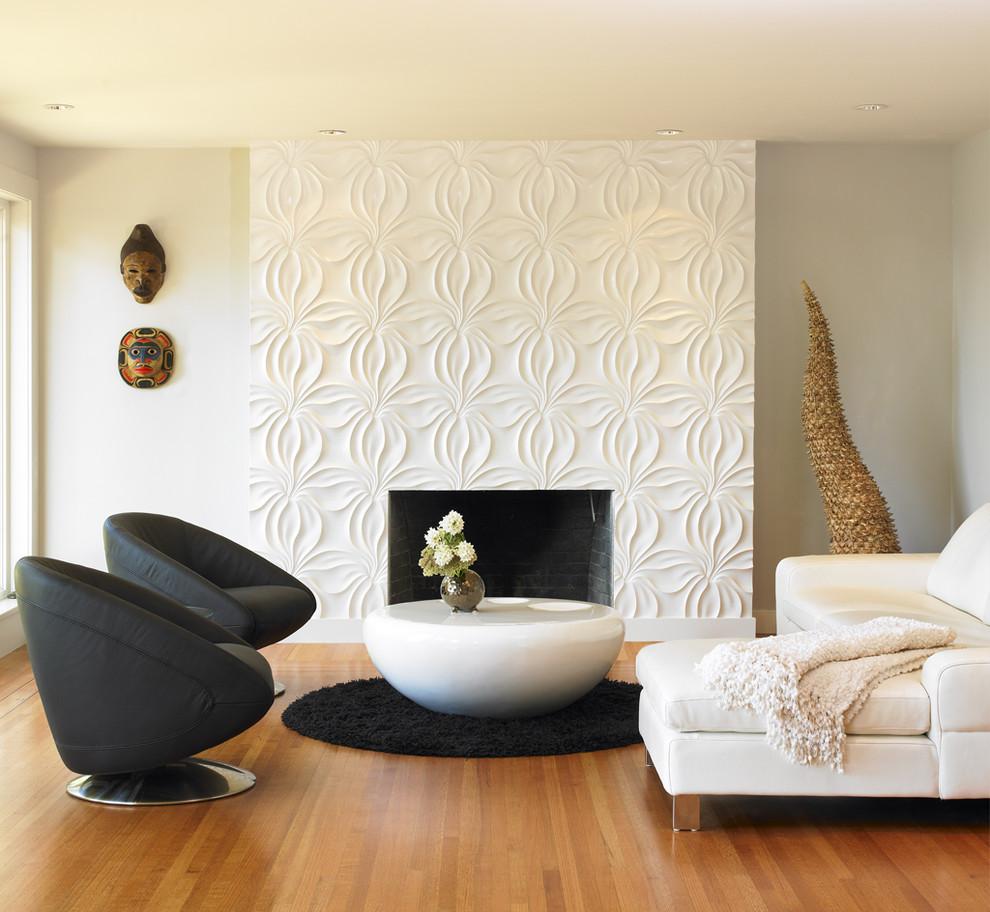 Panneaux 3D à l'intérieur d'un salon moderne
