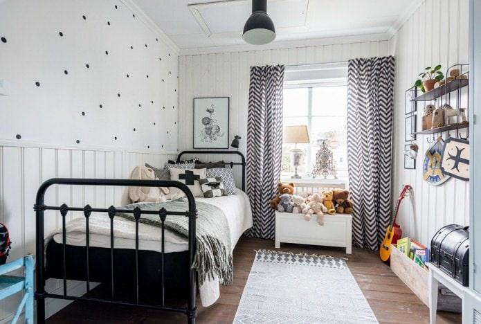rideaux avec des ornements dans le style scandinave pour la pépinière