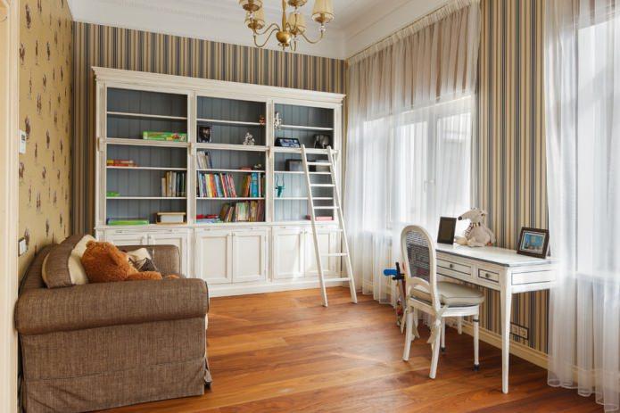 rideaux translucides blancs dans un style classique pour la pépinière