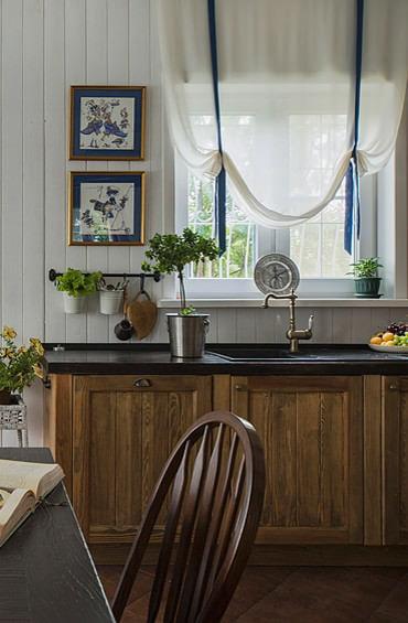 rideaux lumineux dans la cuisine