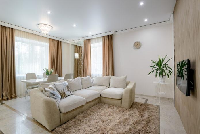 plafond tendu blanc dans le salon