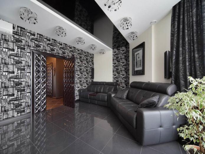 structure de plafond tendu noir et blanc