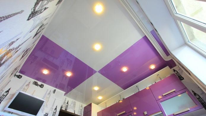 tissu extensible avec une combinaison de couleurs blanc et violet