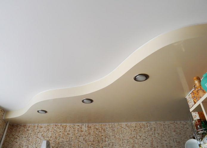 tissu extensible avec une combinaison de couleurs blanc et beige