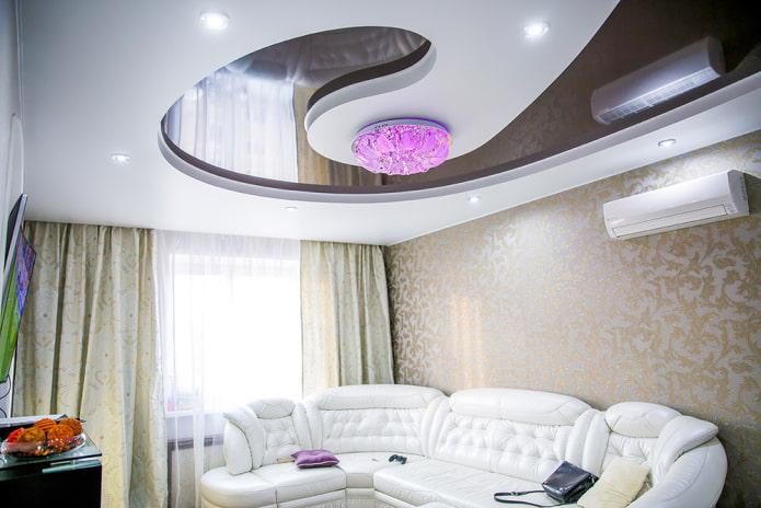 structure de plafond tendu blanc-brun