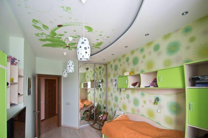 structure de plafond tendu blanc-vert