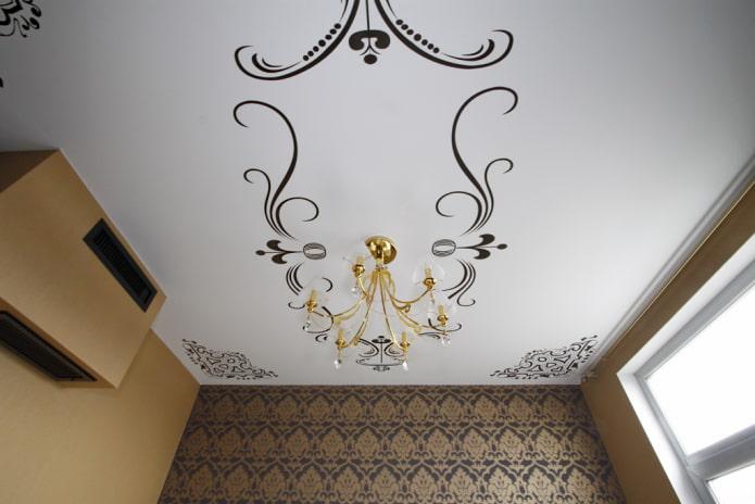 tissu stretch blanc avec des motifs