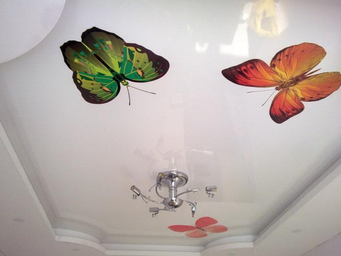 toile extensible blanche avec des papillons