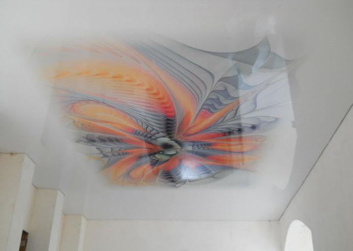 toile extensible blanche avec motif abstrait