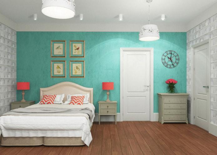 papier peint turquoise clair de la chambre
