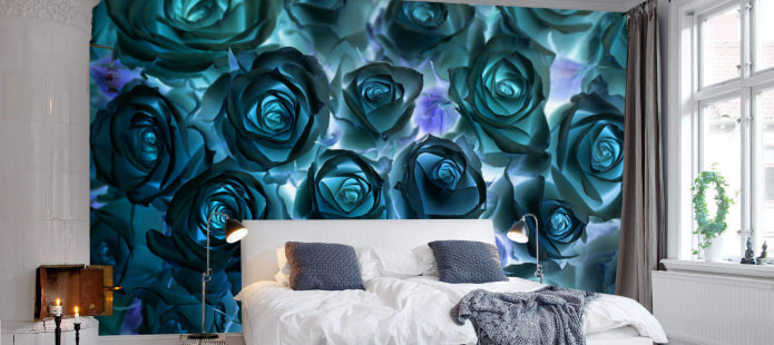roses turquoises sur des photos murales