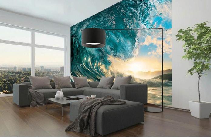 papier peint avec motif de vagues